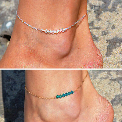 NEW Crystal Anklet Bracelet Gold Silver Chain Ankie Foot Beach Barefoot Sandal
