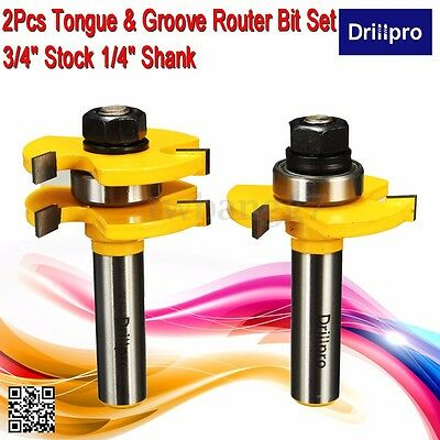 2pcs Rail and Stile Router Bit Set 1/2'' Shank Cutter Cutting Woodworking Tool