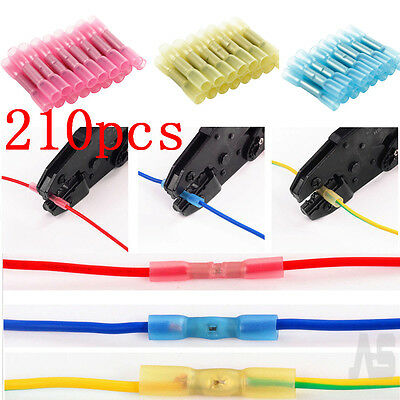 210Pcs Wire Cable Electrical Heat Shrink Insulated Butt Crimp Terminal Connector