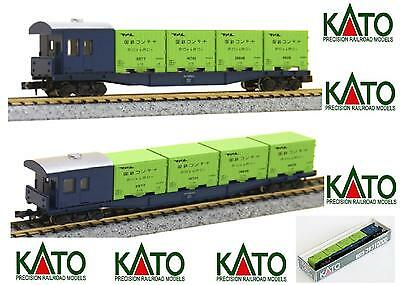 KATO 8003 CARRO MERCI CABOOSE 4 CONTAINER e CABINA Type KOKIFU 10000 BOX SCALA-N