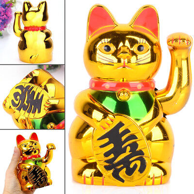 "5"" /6"" Golden Chinese Fortune Wealth Lucky Waving Cat Beckoning Maneki Feng Shui"