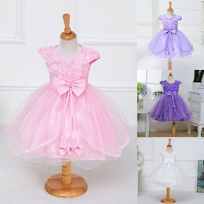 2-7Y Flower Girl Dress Princess Vintage Special Occasion Party Wedding Dress