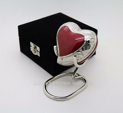 Solid Brass Ruby Red Heart Cremation Memorial Keepsake Funeral Ashes Urn NIB