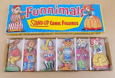 Vintage WILTOYS Funnimals Stand Up Comic Figures Wooden Jigsaw Puzzle