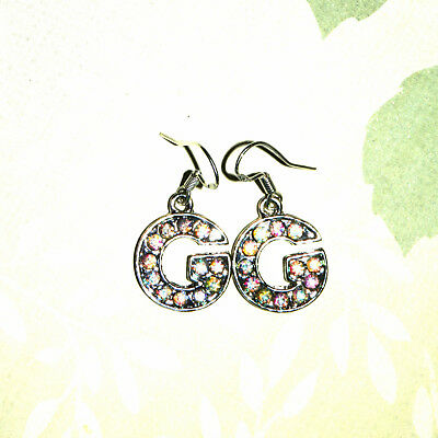 Clear Crystal Alphabet Letter Initial G Shaped Dangle Earrings + Sterling Silver