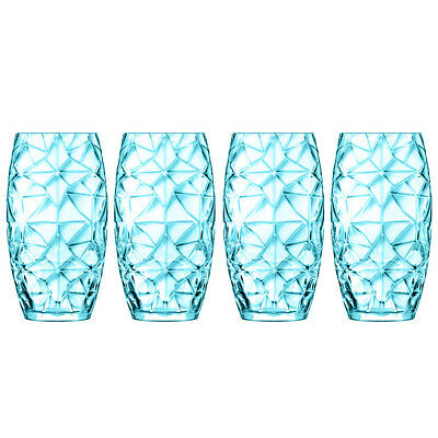 NEW Luigi Bormioli Prezioso Blue Highball Tumbler Set 4pce