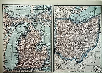 1927 Map United States 4 Maps by C S Hammond Michigan Ohio Illinois Indiana