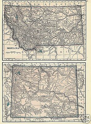 1927 Map U S States MT WY UT ID Lithograph 4 Maps C S Hammond Color Maps