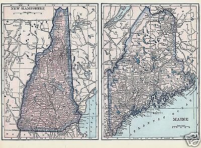 1927 New Hampshire Maine Rhode Island Vermont C S Hammond & Co Lithograph 4 Maps