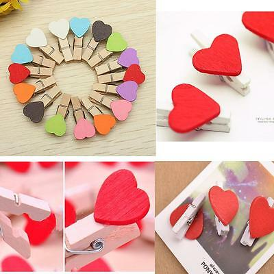 20 pcs Vogue Wooden Red Love Heart Pegs Photo Paper Clips Wedding Decor Craft
