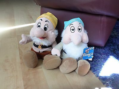 2  Plush Soft Toys Disney  Snow white and  seven dwarfs  Sleepy  Sneezy  Figure