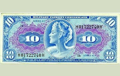 """Rare! $10 MILITARY PAYMENT CERTIFICATE MPC SERIES 611 """"Coveted Marilyn Monroe"""""""