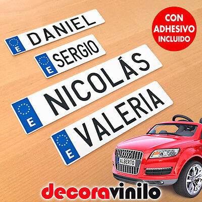 Mini Matrícula Decorativa Coche Electrico Personalizable Matricula Niño Bebe M02