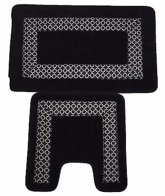 Trellis Border 2pc Non Slip Super Absorbent Pedestal and Bath Mat Set Black