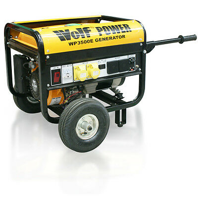 Wolf 3200W Dual Voltage 6.5HP 4 KVA ELECTRIC START Petrol Portable Generator