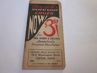 Vintage Memo Book Advertising Newark Shoes Tiffin, Ohio C