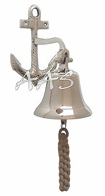 Silver Brass Ship Bell With Decorative Anchor Nautical Hanging Door School Bell