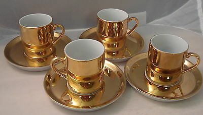 Vintage Neiman Marcus Gold Espresso Demitasse Cup and Saucer Set of Four
