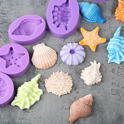 3D Undersea Shell Silicone Fondant Mould Cake Decor Gumpaste Fimo Sugarcraft DIY