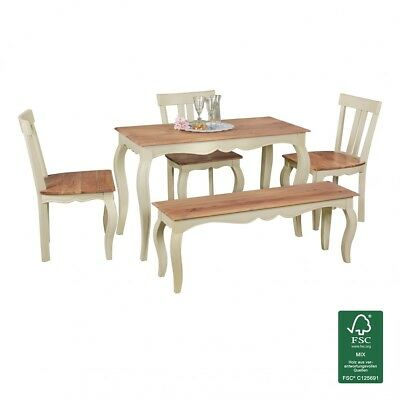FineBuy opium Dinner Table White Wood 120 cm square table Kitchen dining table