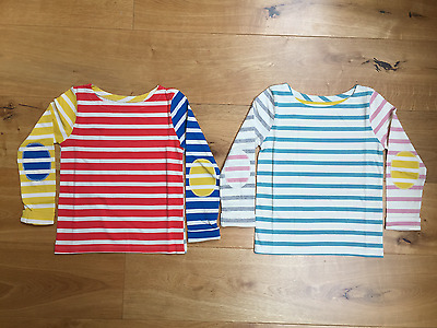 Girls Ex Mini Boden Stripe Elbow Patch Top Tshirt 2 3 4 5 6 7 8 9 10 11 12 Yrs