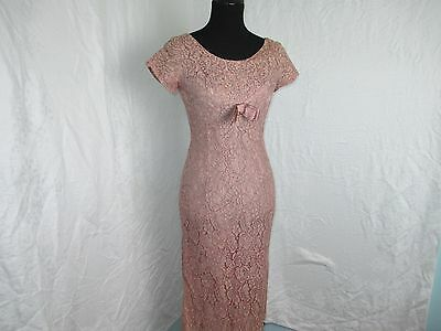 Vintage True 1950,s Lace & Stain Pencil Dress Dusty Rose