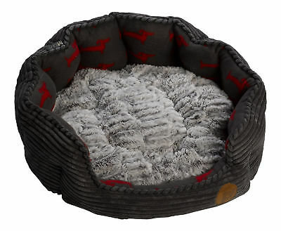 Pet Bed Puppy Dog Deli Oval Grey Cord Fleece Faux Fur Cushion Petface Basket