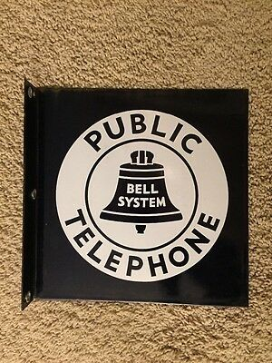 Public Telephone Bell System Flange Porcelain Sign Double Side Character