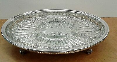 Leonard Silverplate Footed & Pierced Serving Tray With Divided Glass Insert