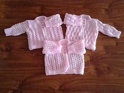 New Hand Knitted Matinee Coats for Newborns (Set of 3 Pink)