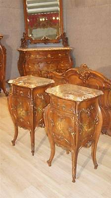 Italian Antique Painted Wonderful Walnut Castle Bedroom Set Night Stands 14It035