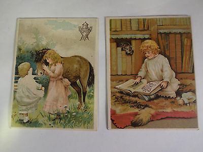 Lot of 2 Vintage Dilworths Coffee Trade Cards Girls Horses Nice Ones!