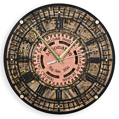 Big Ben Automaton 1854 Unique Vintage large handcrafted wooden wall clock