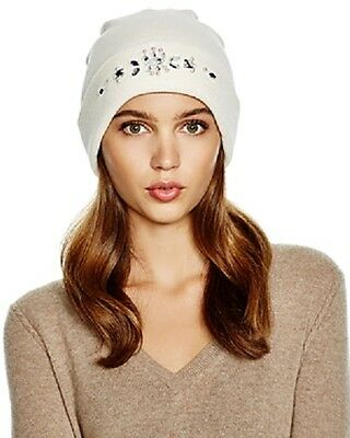 36466ac1f0a Aqua Beanie Hat Cream Embellished Cuffed Women s One Size NWT  32.00