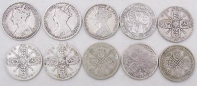 UK Silver Florin 2 Shillings Coin Lot x10 Victoria 1872 1849 1899 George V #4345