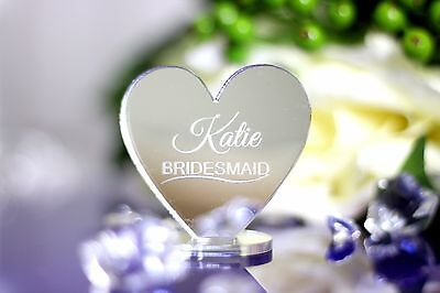 Personalised Wedding table decoration setting cards- Mirror Acrylic Love Hearts