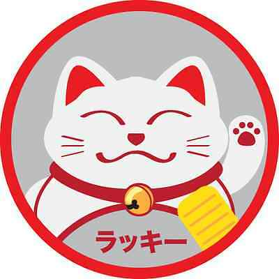 New Lucky Cat sign for car window decal sticker 3M vinyl due cut 3.5x3.5 inches