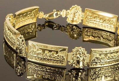 Men's Real 10K Gold Jesus face & Last Supper Jesus with  Apostles Bracelet