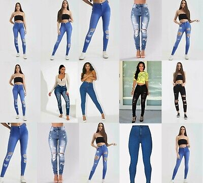 New Womens Ladies Celeb Stretch Ripped Skinny High Waist Denim Pants Jeans 6-22