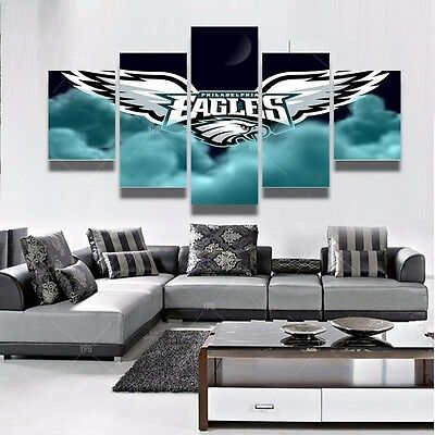 5 Panel Philadelphia Eagles Canvas Prints Painting Wall Art NFL Sport Home  Decor