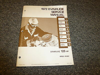 1972 Evinrude Starflite 125 HP Outboard Motor Shop Service Repair Manual