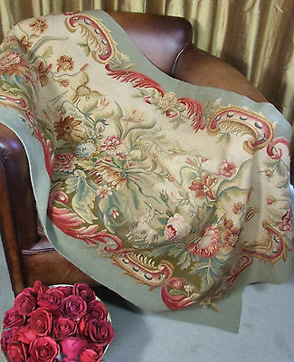 Antique French Aubusson Tapestry Weave Panel Time Worn Floral Decor Goat Bird