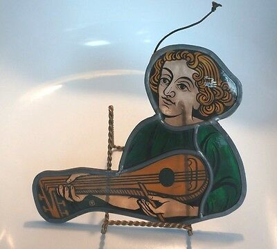 Reduced Again!!! Beautiful Antique Stained Glass Figure With Musical Instrument