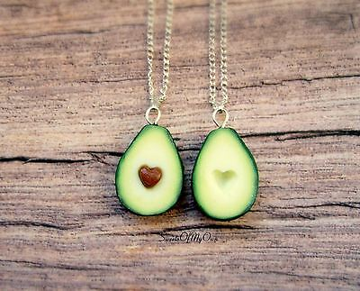 Avocado Necklaces - Best Friend Necklaces - Avocado Heart - BFF Necklaces - Food