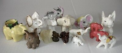 Lot of 15 Vintage Elephant Figurines Glass - Ceramic - Metal - Stone - Other