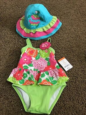 Baby Girls Gymboree Swimsuit And Hat Outfit 12-18 Months Floral Tropical UV 50