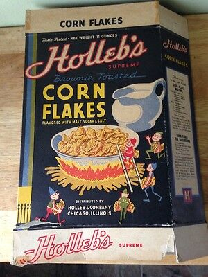 Vintage Holleb's Supreme Corn Flakes Cereal Box