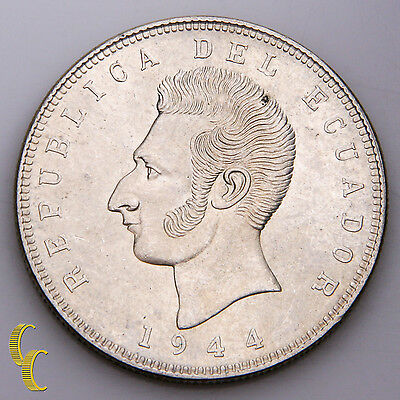 1944 5 Sucres Ecuador Silver Coin Brilliant Uncirculated KM #79