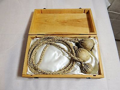 Authentic Gaucho Boleadoras or bolas in Satin-lined Wooden Presentation Box 1975