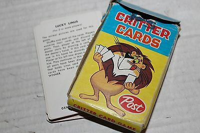 General Foods Post Critter Card Game Vintage Complete Rare Kankakee Illinois